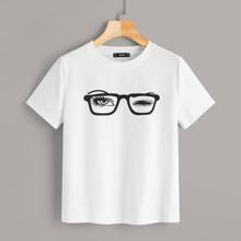 Blinking Eye & Glasses Graphic Tee