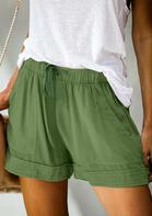 Drawstring Tie Pocket High Waist Shorts - Army Green