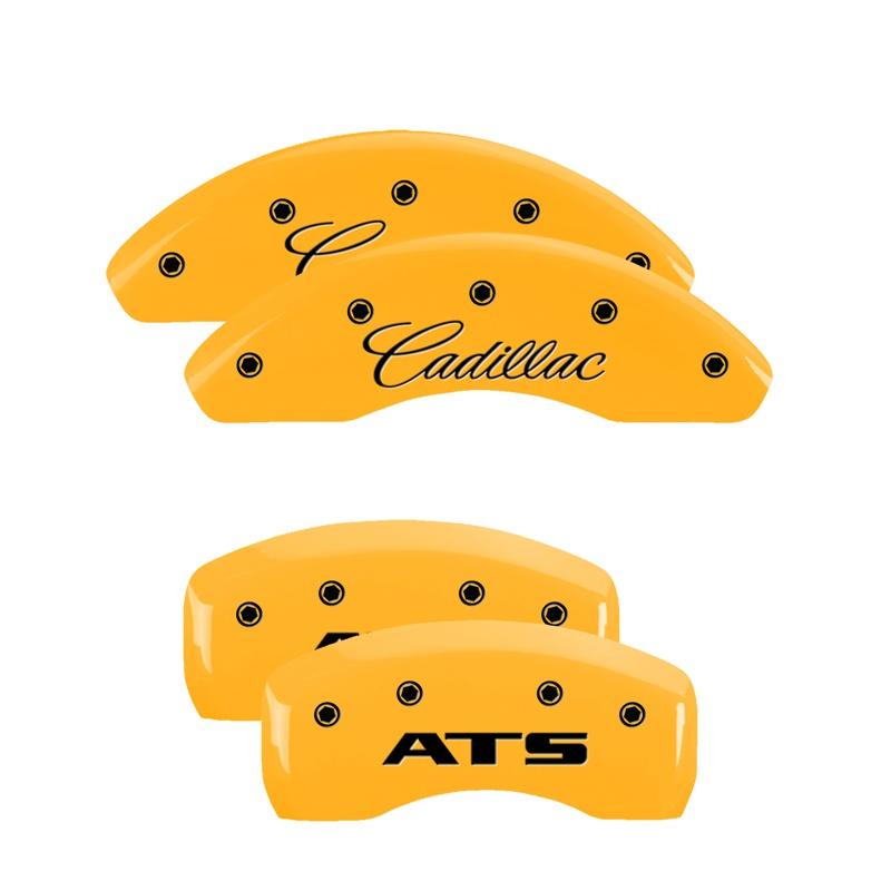 MGP Caliper Covers 35023SATSYL Set of 4: Yellow finish, Black Cadillac / ATS Cadillac