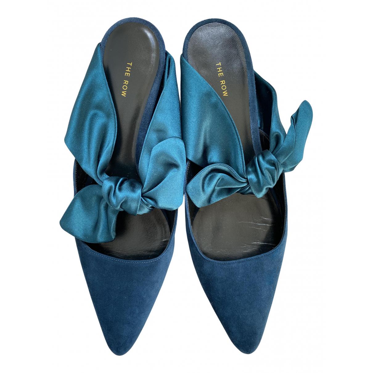 The Row - Sabots Coco pour femme en suede - bleu