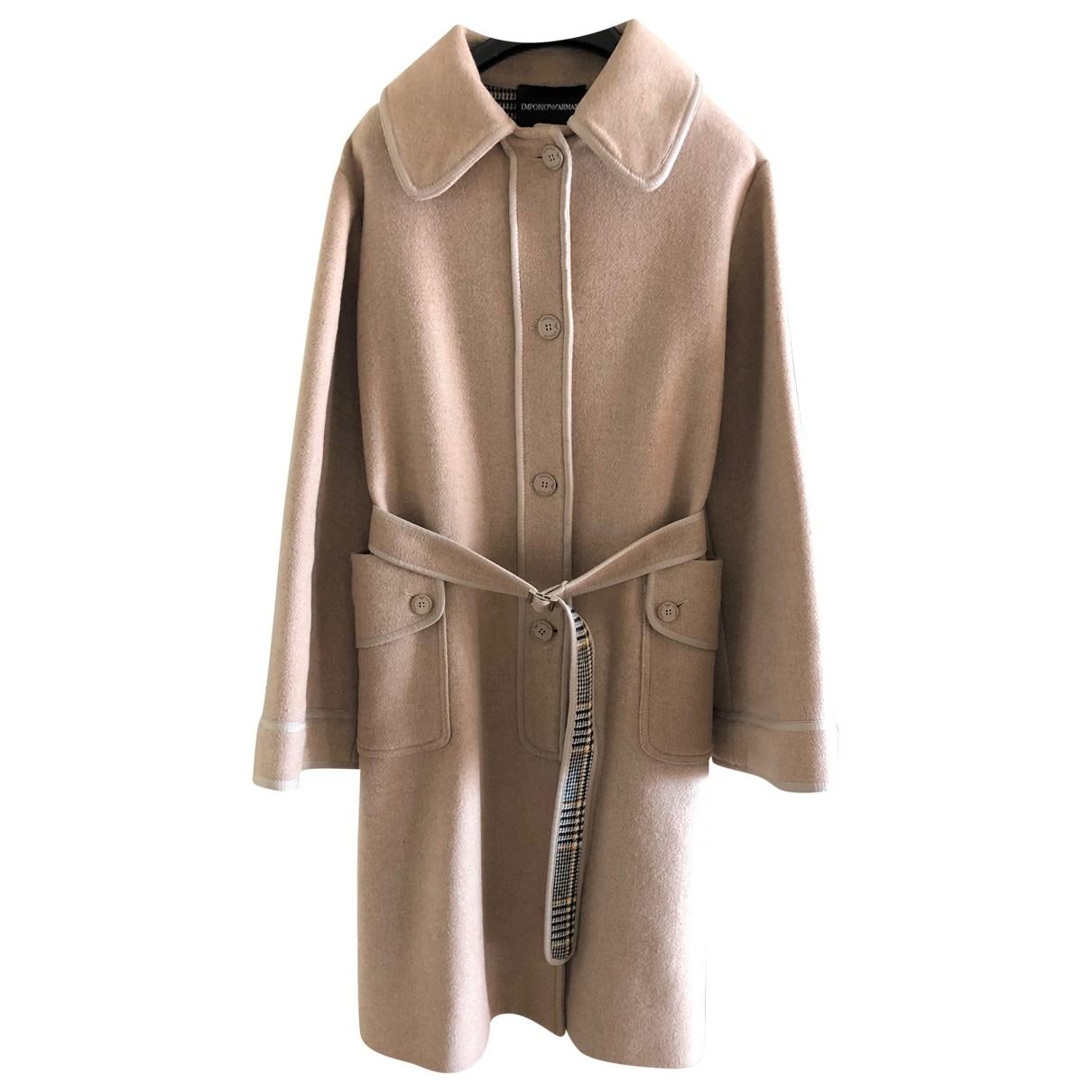 Emporio Armani - Manteau   pour femme en laine - beige