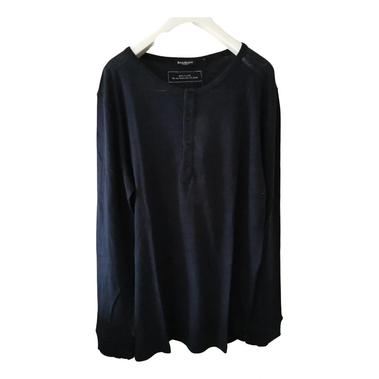 Balmain \N Navy Linen T-shirts for Men XL International