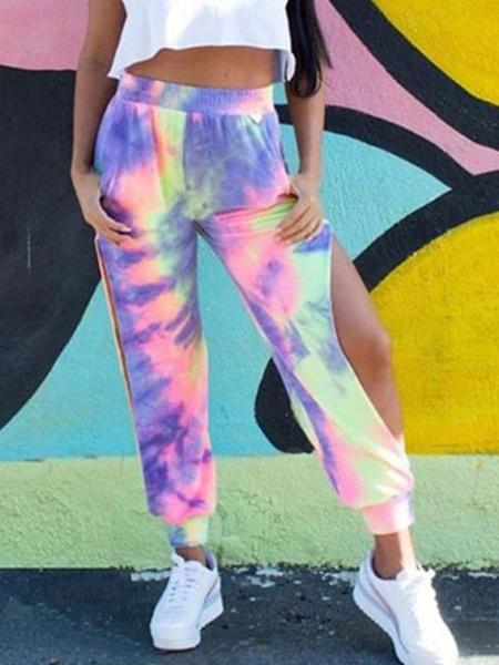 Milanoo Women Long Joggers Purple Cut Out Printed Pants
