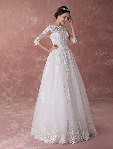 Milanoo Vestidos de novia de marfil Vestido de novia de princesa Ball Gowns rebordear vestido de novia de longitud de piso