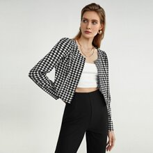 Open Front Houndstooth Jacket