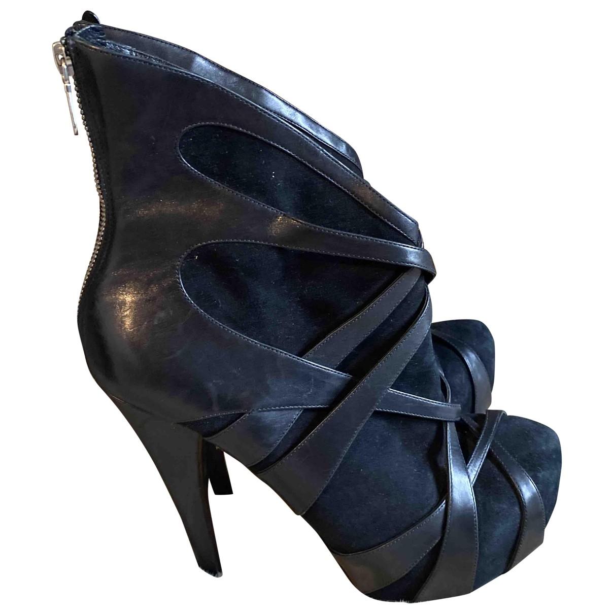 Alejandro Ingelmo - Boots   pour femme en suede - noir