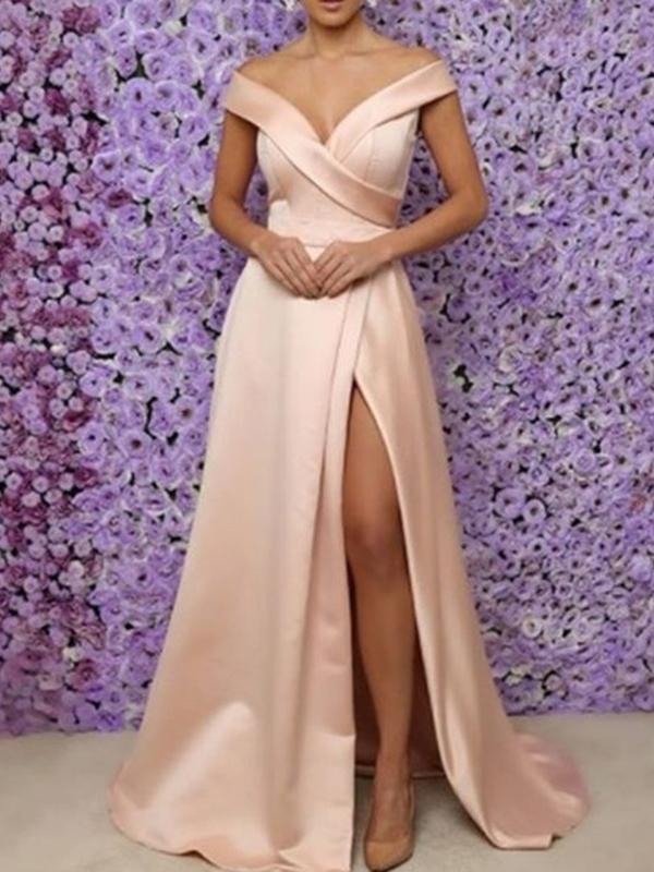 A-Line Split-Front V-Neck Floor-Length Prom Dress