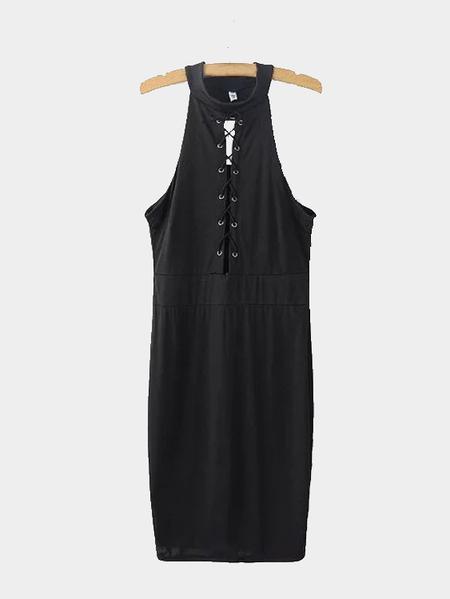 Yoins Black Sleeveless Lace-up Front Midi Dress