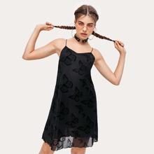 Butterfly Print Mesh Black Cami Dress