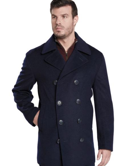Men's Dark Navy Double Breasted Peak Lapel Overcoat
