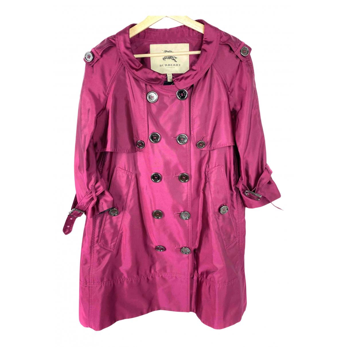Burberry N Purple Silk Trench coat for Women 10 UK