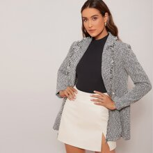 Notched Collar Frayed Trim Double Breasted Tweed Blazer