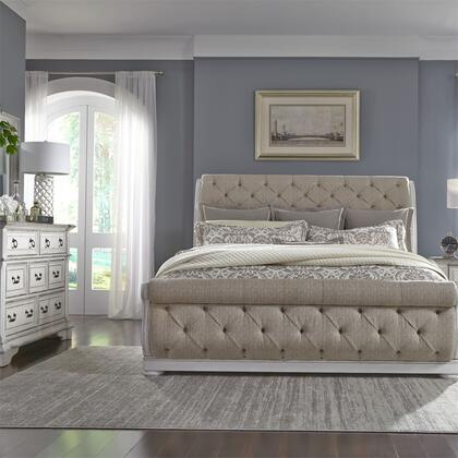 Liberty Furniture 520-BR-QUSLDM 3 Piece Bedroom Set with Queen Size Upholstered Bed  Dresser and Mirror  in Wire Brushed Antique White