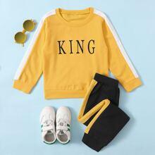 Sweatshirt mit Buchstaben Grafik & Jogginghose mit seitlichen Streifen