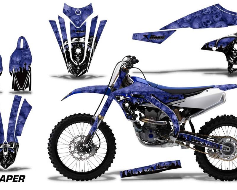 AMR Racing Dirt Bike Decal Graphics Kit MX Sticker Wrap For Yamaha YZ450F 2018+áREAPER BLUE