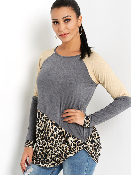 Yoins Grey Leopard Stitching Round Neck Long Sleeves Knot Hem T-shirt