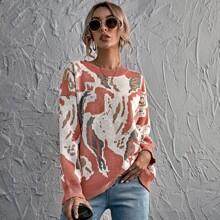 Pullover mit Grafik Muster und sehr tief angesetzter Schulterpartie