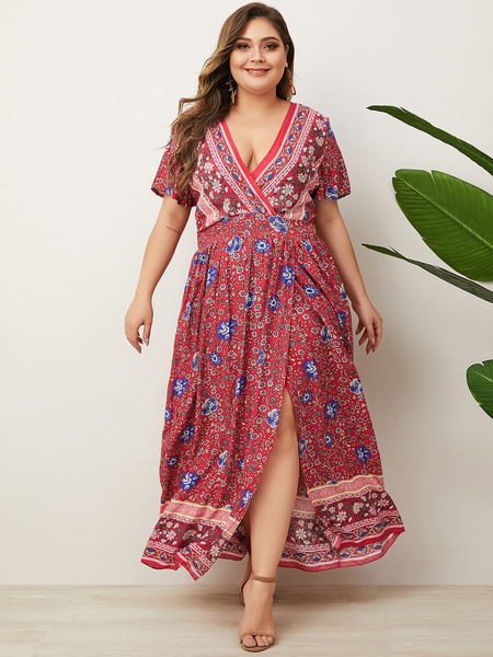 Yoins Plus Size Red Wrap Design Tribal Deep V Neck Short Sleeves Dress