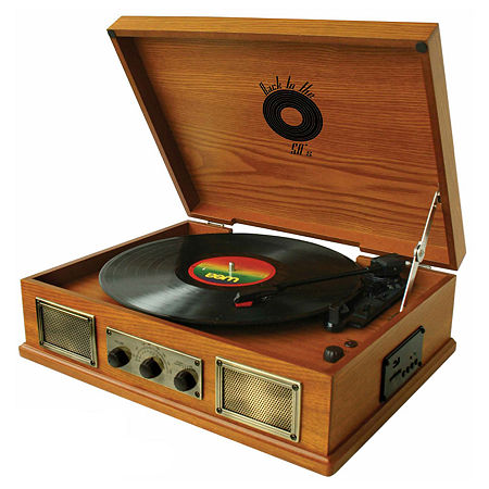 Back To The 50's 3 Speed Wooden Turntable, One Size , Brown