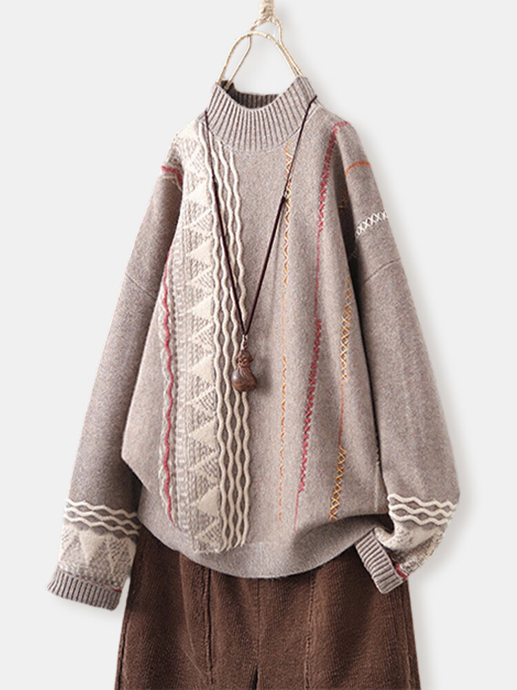 Knit Print Half Collar Long Sleeve Vintage Pullover Sweater For Women