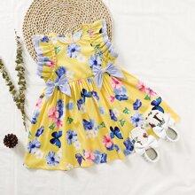 Kleinkind Maedchen Kleid mit Schleife vorn, Raffung und Blumen Muster