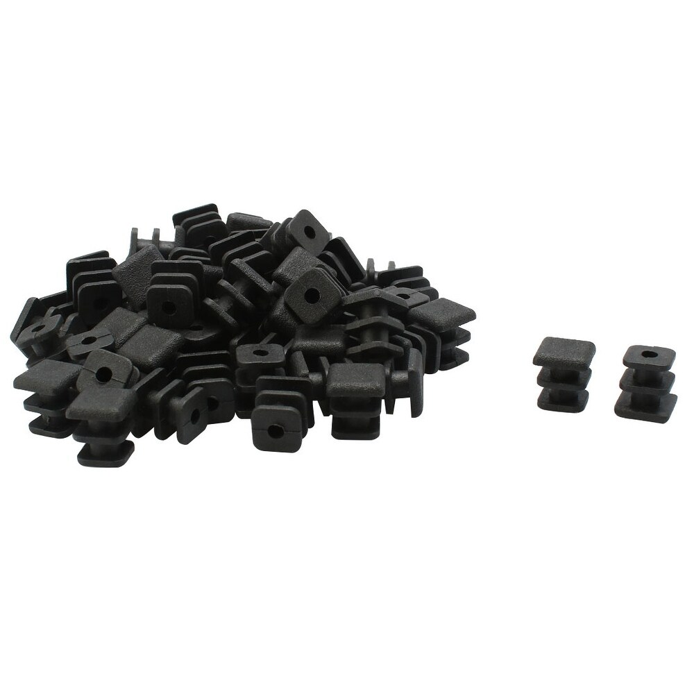 60pcs Plastic Square Ribbed Tube Inserts End Cover Cap Furniture Feet Floor Protector - Black (Black)