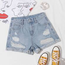 Roll Hem Ripped Denim Shorts