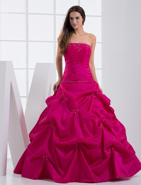 Milanoo Strapless Applique Beading Taffeta Ball Gown Dress