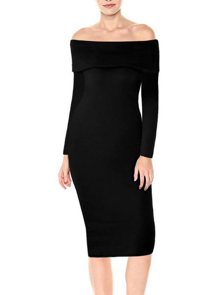 Milanoo Bodycon Dresses Red Sexy Off The Shoulder Sheath Dress