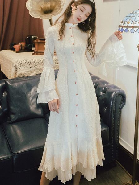 Milanoo Vestidos de fiesta para mujer Mangas de campana de marfil Vestido en capas con botones semi formales