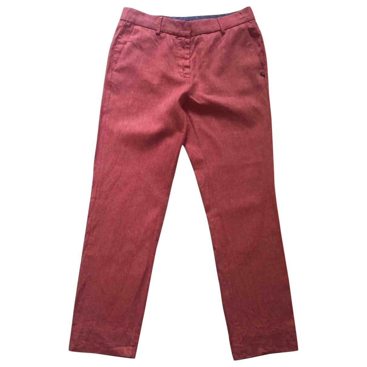 Ottod'ame \N Red Cotton Trousers for Women 42 IT