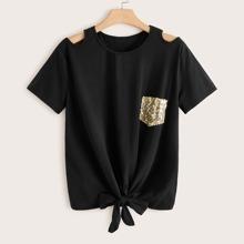 Grosse Grossen - T-Shirt mit Ausschitt auf Schulter, Pailletten Einsatz und Knoten am Saum