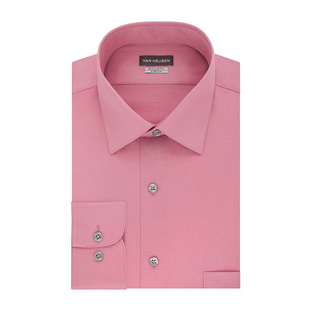 Van Heusen Lux Sateen Stretch Mens Spread Collar Long Sleeve Wrinkle Free Stretch Dress Shirt, 17 34-35, Pink