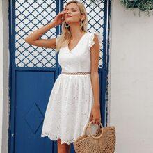 Kleid mit V Kragen und Raffung Armloch