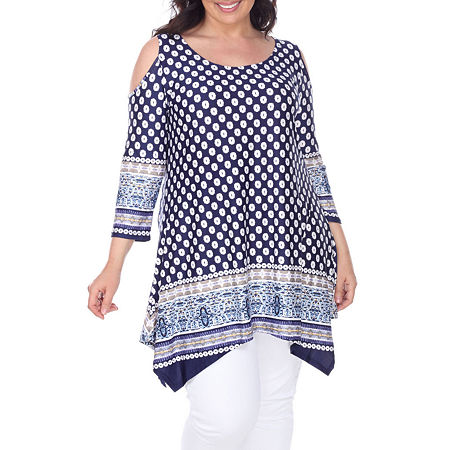 White Mark-Plus Antonia Womens Scoop Neck 3/4 Sleeve Tunic Top, 1x , Blue