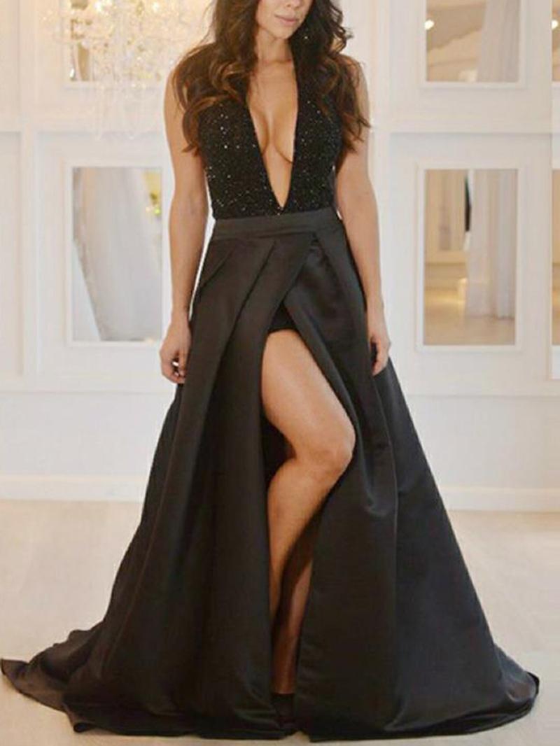 Ericdress Deep V-Neck Split-Front Sequins Evening Dress