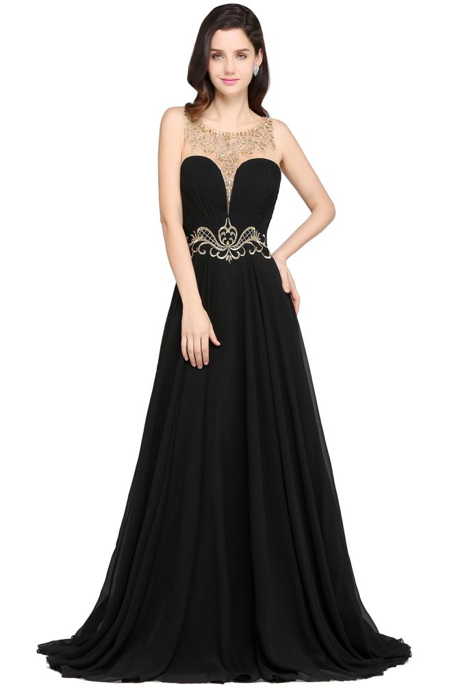AVA | A-line Scoop Chiffon Prom Dress With Lace