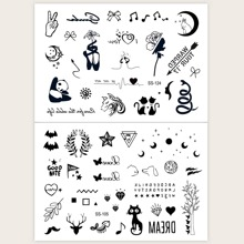 2 Stuecke Katze & Mond Muster Tattoo Aufkleber