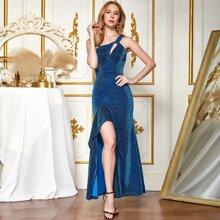 Angel-Fashions One Shoulder Cut-out Ruffle Trim Split Thigh Glitter Dress