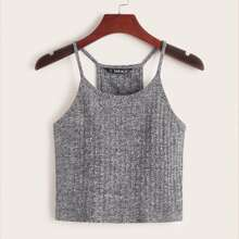 Ribbed Heathered Knit Cropped Cami Top