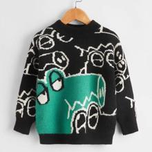Toddler Boys Cartoon Crocodile Pattern Sweater