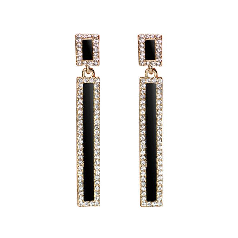 Fashion Ear Drop Earrings Solid Rectangle Rhinestone Balls Pendant Piercing Dangle for Women