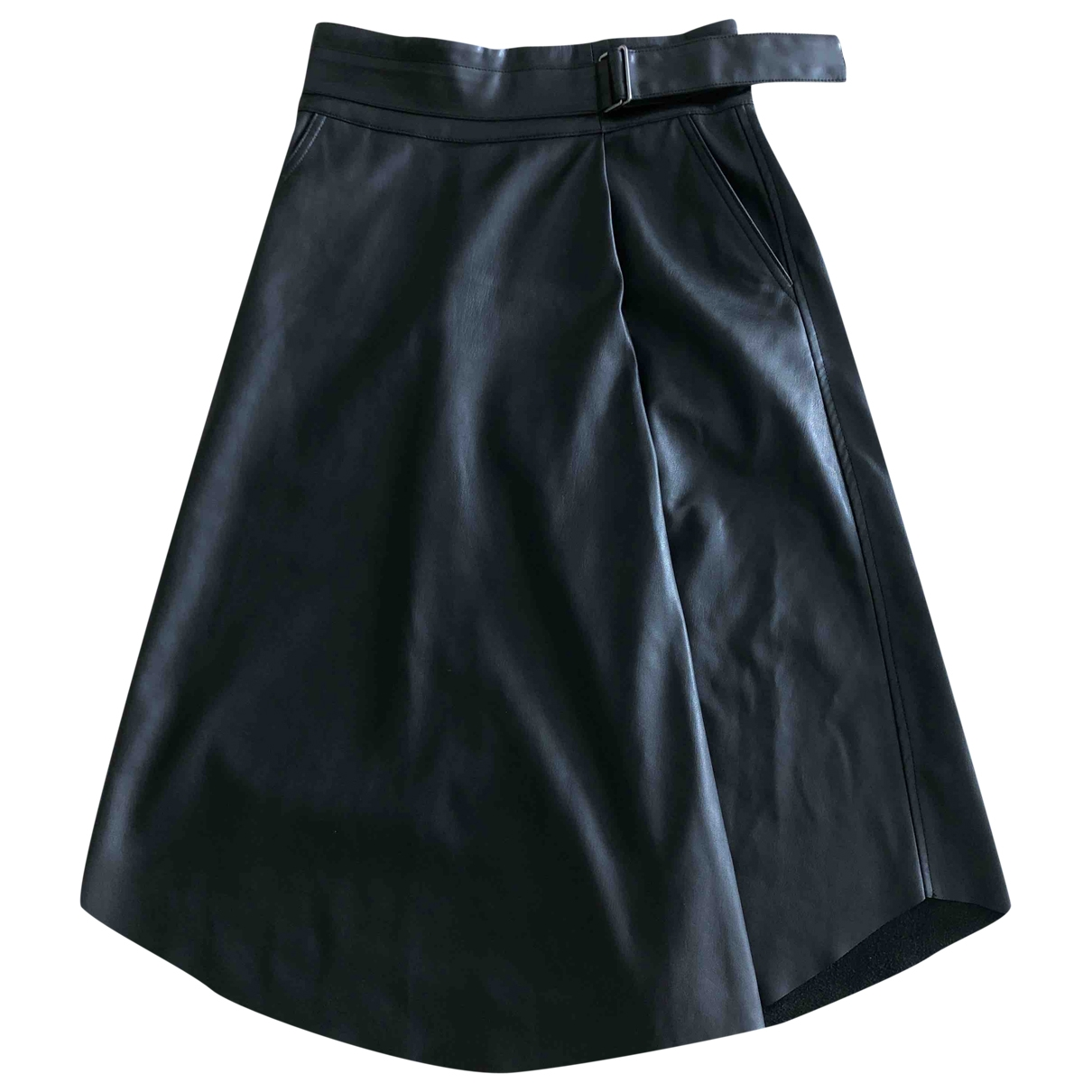 Non Signé / Unsigned Oversize Black Leather skirt for Women M International