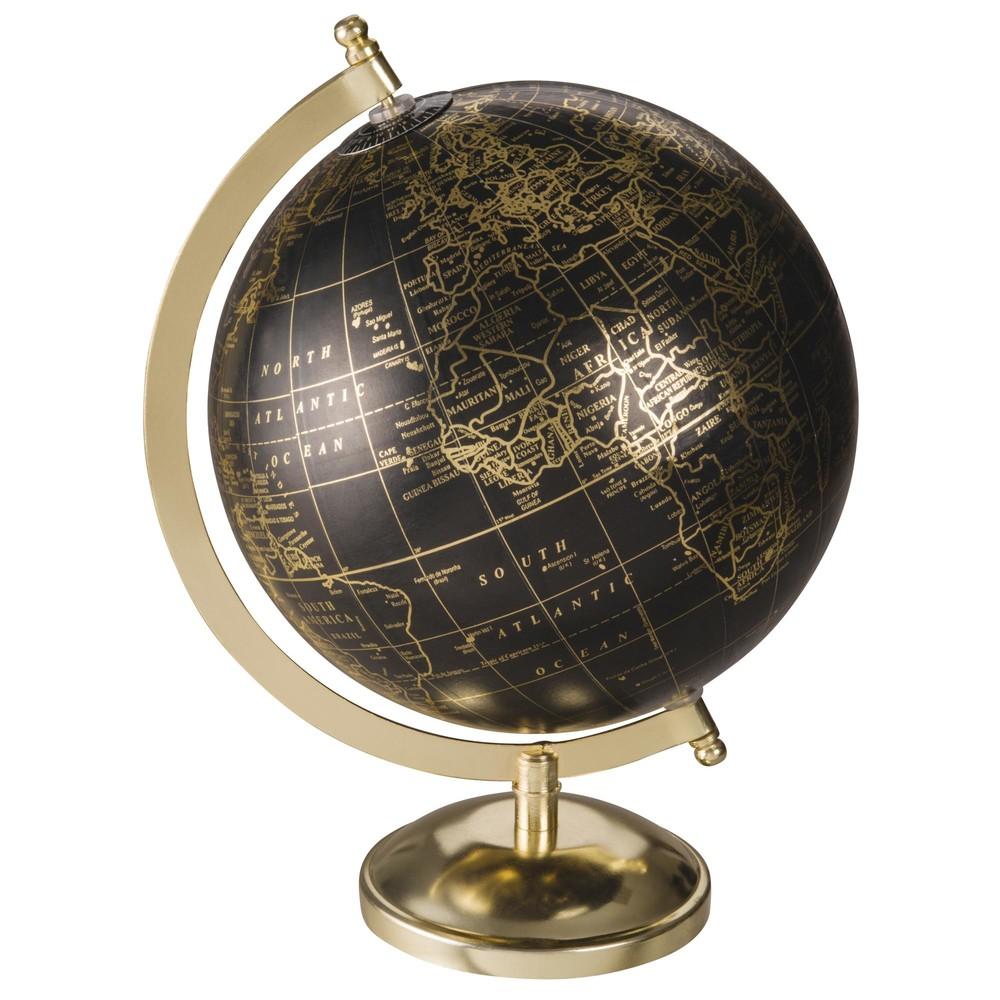 Globus in Gold und Schwarz