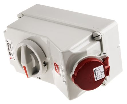 MENNEKES Switchable IP44 Industrial Interlock Socket 3P+E, Earthing Position 6h, 16A, 400 V, Red