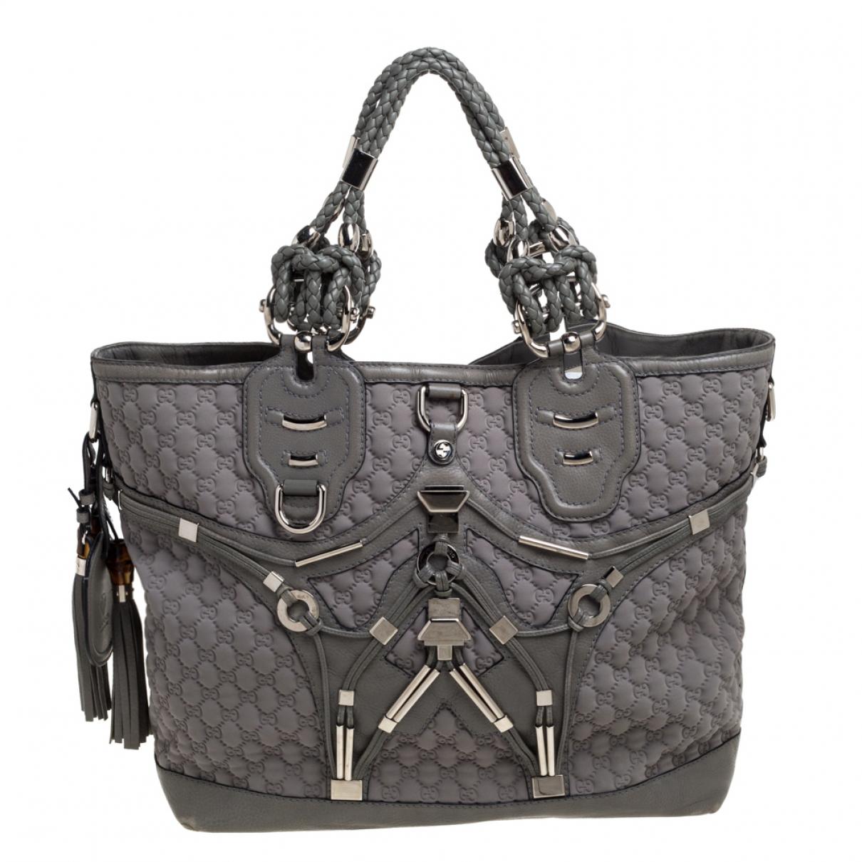 Gucci N Grey Leather handbag for Women N