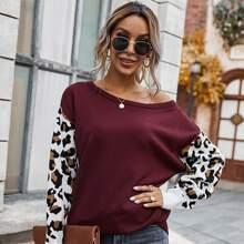 Oblique Shoulder Graphic Pattern Sweater