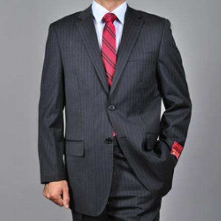 Mens Dark Charcoal Grey 2button Wool Suit