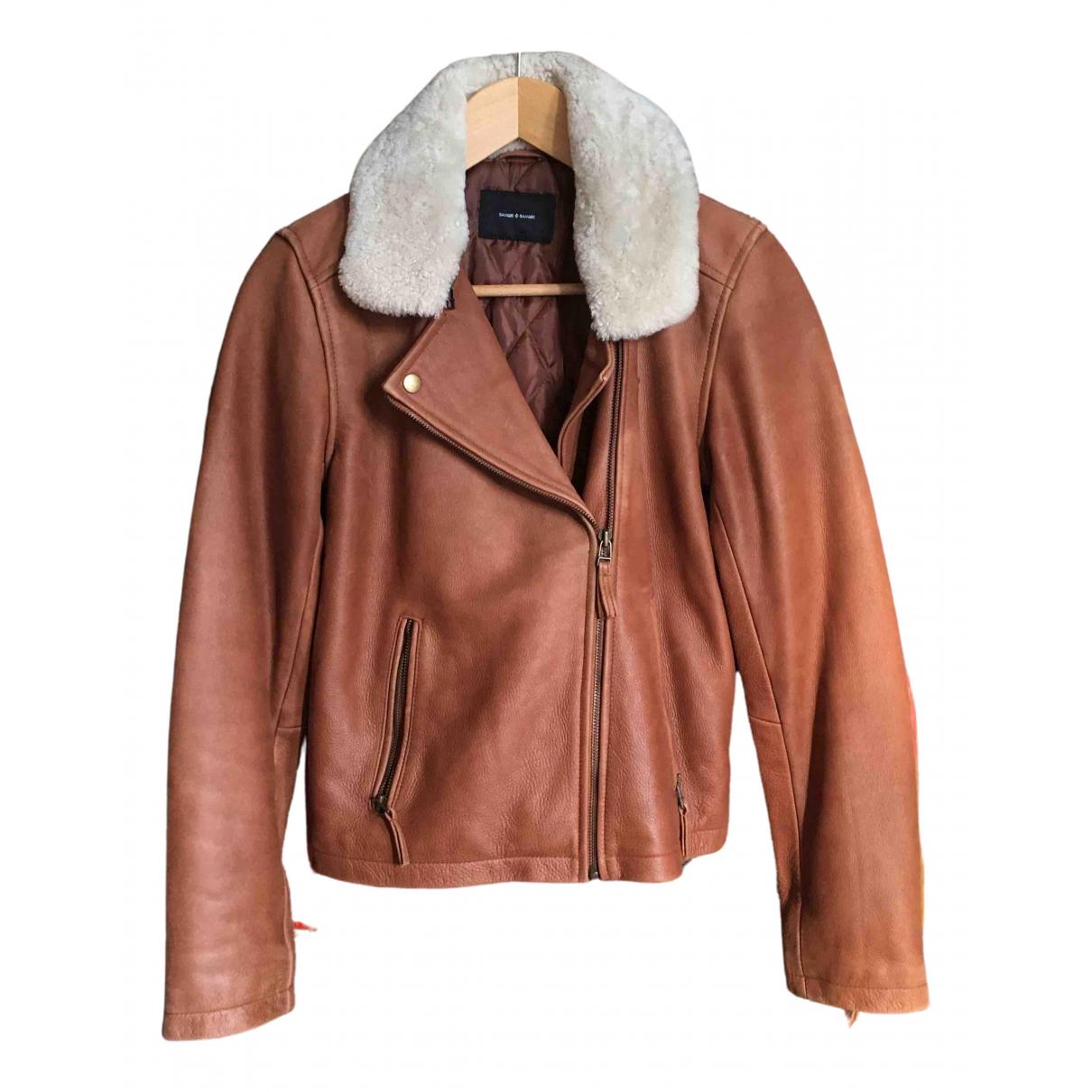 Samsoe & Samsoe N Brown Leather jacket for Women S International