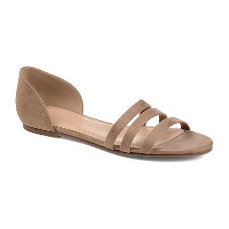 Journee Collection Womens Gildie Open Toe Slip-On Shoe, 7 1/2 Medium, Beige